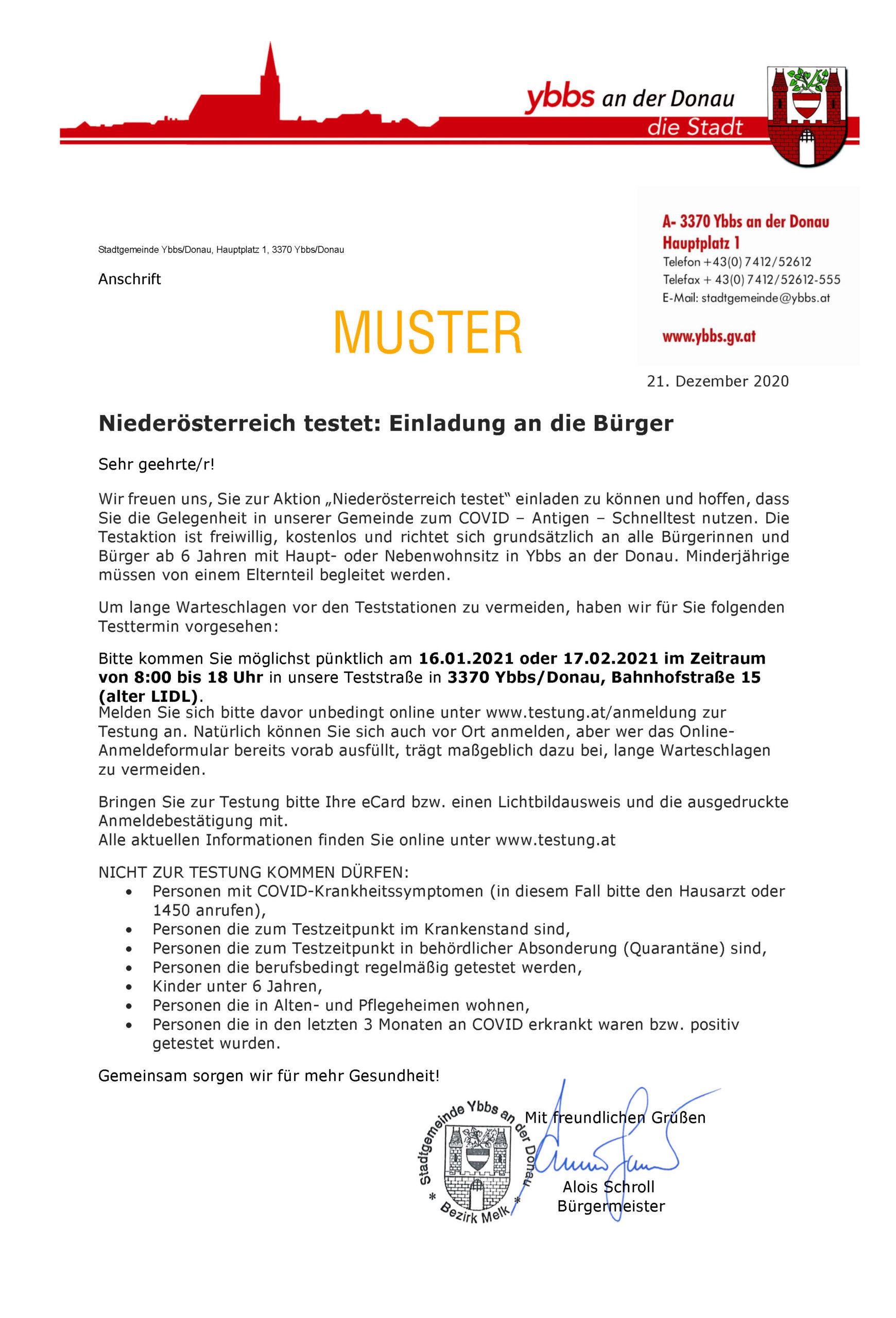 Informationsschreiben zu Testung im Jänner 2021, Muster